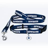 Dallas Cowboys Pet Collar, Lead and ID Tag Combo Set Size Large