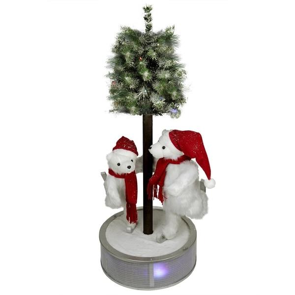 4' Animated and Musical Lighted LED Ice Skating Polar Bears with Flocked Tree Christmas Decor
