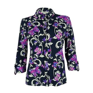 Charter Club Women's 3/4 Sleeve Butterfly Print Top - intrepid blue combo