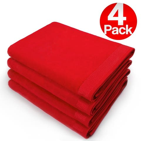 """Kaufman - 30"""" X 60"""" SOLID VELOUR BEACH AND POOL TOWEL . SET OF 4"""
