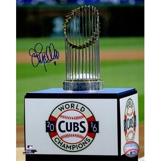 John Mallee Chicago Cubs 2016 World Series Trophy On Wrigley Field 8x10 Photo