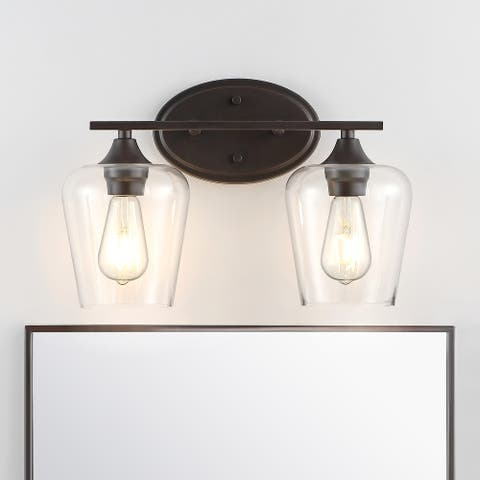 Jayne Iron/Seeded Glass Cottage LED Vanity Light, Orb by JONATHAN Y