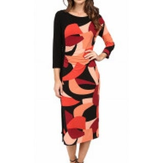 Laundry NEW Black Red Womens Size Small S Printed Gathered Sheath Dress