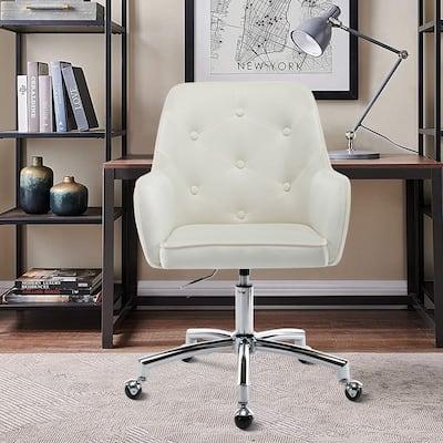 Velvet Swivel Tufted Adjustable Rolling Home Office Task Chair
