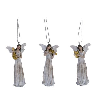 """Link to 3-Piece White and Brown Traditional Harmony Angel Christmas Ornaments 4"""" Similar Items in Christmas Decorations"""