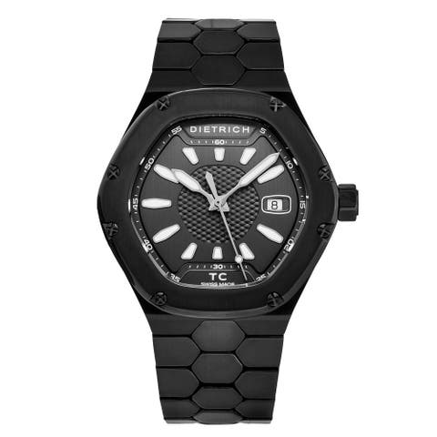 Dietrich men's tc pvd black 'time companion' black dial hexagon swiss automatic watch