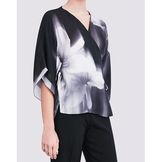 Elie Tahari NEW Black Gray Printed Womens Large L Wrap Silk Top Blouse