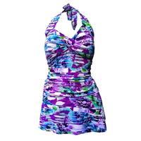 Twist Front Ruched Side Halter Tie Swimdress in Purple & Blue Floral