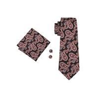 Men's Orange & Black Paisley 100% Silk Neck tie Hanky Cufflinks Set - 59 inch x 3.4 inch