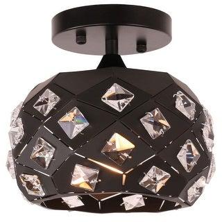 Vintage industrial black crystal globe semi flush mount ceiling light fixture