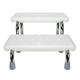 Bath Safety Steps - 2 Stairs - Steel Frame Non-Slip Rubber Feet