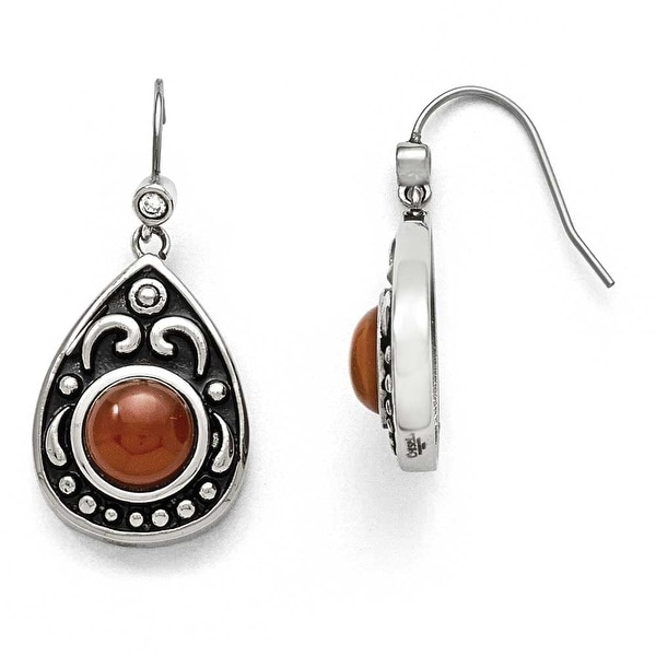 Chisel Stainless Steel Polished/Antiqued Red Agate/CZ Dangle Earrings