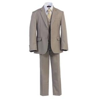 Boys Khaki 2 Buttons Formal 5 Pcs Vest Shirt Tie Suit