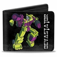 Devastator Action Pose + Decepticon Logo Pin Stripes Black Silver Fade Bi Bi-Fold Wallet One Size - One Size Fits most