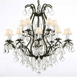 Swarovski Elements Crystal Trimmed Wrought Iron Chandelier Lighting With 15 Lights & Shades