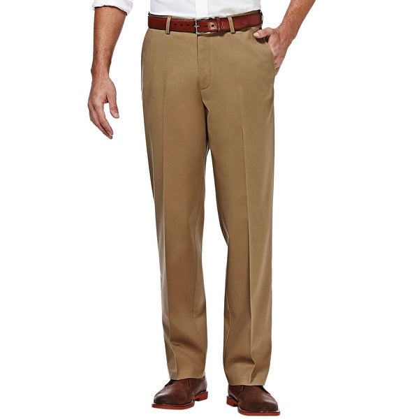 Haggar Straight Fit Sustainable Stretch Chinos Flat Front Pants Camel Color