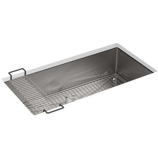 """Kohler K-5283  Strive 35"""" Single Basin Undermount 16-Gauge Stainless Steel Kitchen Sink with SilentShield with Accessories"""