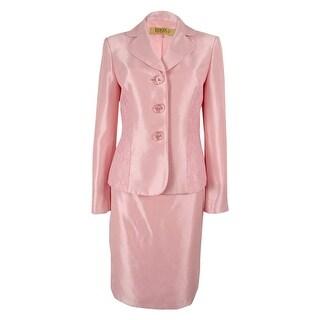 Kasper Women's Lace Three-button Skirt Suit - Petal