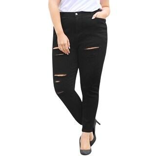 Allegra K Women's Plus Size High Waist Zip Fly Skinny Ripped Jeans - Black
