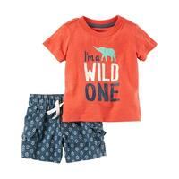 Carter's Baby Boys' 2-Piece Graphic Tee & Short Set, 6 Months - Orange