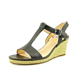 Cole Haan Elizabeth II Women Open Toe Leather Black Wedge Sandal