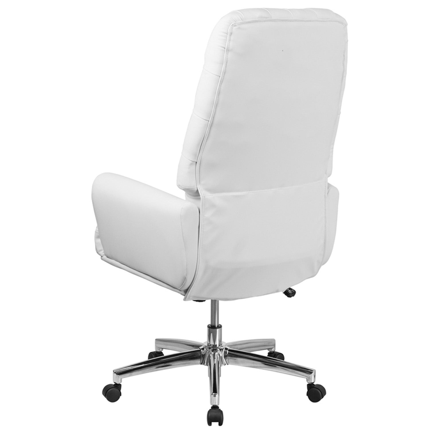 Amazing Silkeborg High Back Tufted White Leather Executive Swivel Chair W Arms Squirreltailoven Fun Painted Chair Ideas Images Squirreltailovenorg