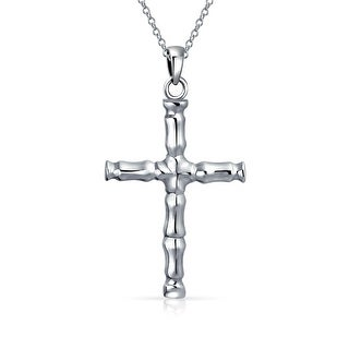 .925 Sterling Silver Large Bamboo Cross Pendant Necklace 18 In