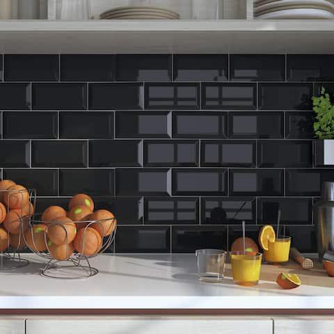 SomerTile 4x7.88-inch Santorini Biselado Nero Ceramic Wall Tile