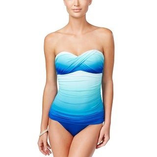 Bleu Rod Beattie Womens Fun in the Sun Twist Bandeau One Piece Swimsuit, Blue, 4
