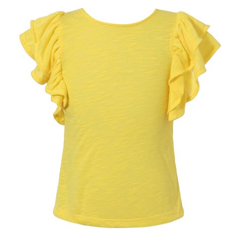 Richie House Girls' cotton knit T-shirt with ruffle sleeves