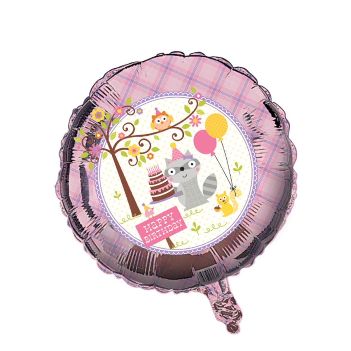 """Pack of 10 Happi Woodland Girl Themed Metallic """"Happy Birthday"""" Foil Party Balloons thumbnail"""