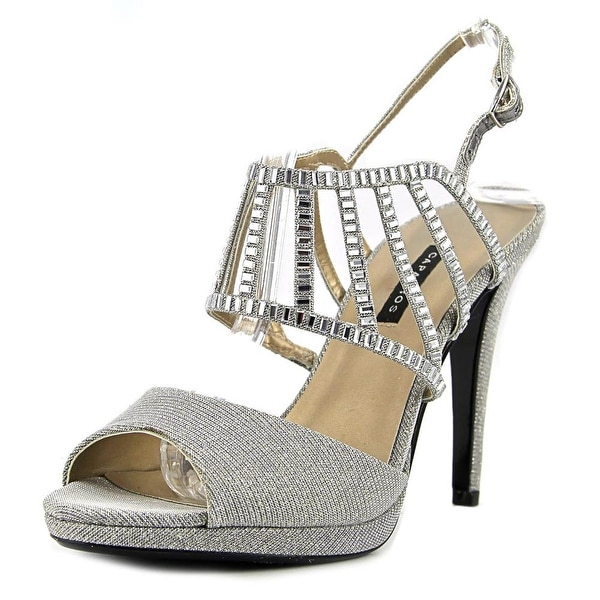 Caparros Paris Women Open Toe Canvas Silver Platform Sandal