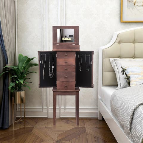 Standing Jewelry Armoire with Mirror Top Storage Organizer