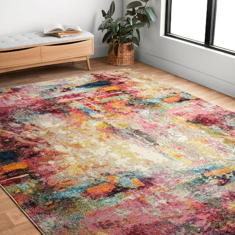 Alexander Home Vintage Modern Boho Abstract Distressed Rug