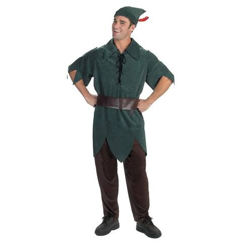 Green and Black Solid Peter Pan Men Adult Halloween Costume - XL - x-large