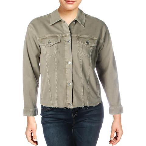 Lauren Ralph Lauren Womens Plus Radlee Jean Jacket Denim Raw Hem - Dry Sage - 1X