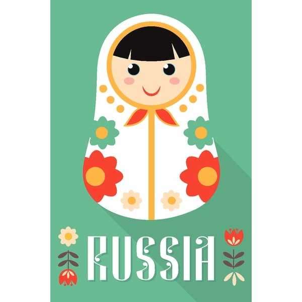 98d9f43ee6d Shop Russia - Nesting Doll - Turquoise Background - Lantern Press ...