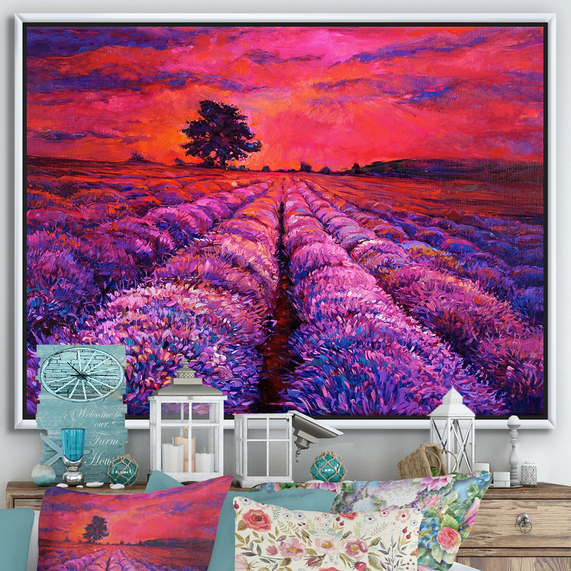 Shop Black Friday Deals On Designart Blossoming Lavender Fields During Evening Glow I Farmhouse Framed Canvas Wall Art Print Overstock 32595434