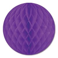 """Club Pack of 24 Purple Honeycomb Hanging Tissue Ball Decorations 12"""""""