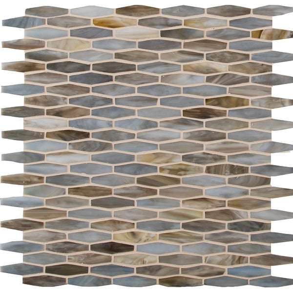 "MSI SMOT-GLSB 12"" x 12"" Linear Hexagon Mosaic Sheet - Glossy Glass Visual - Sold by Carton (20 SF/Carton) - Mochachino"