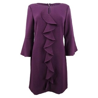Link to Jessica Howard Women's Petite Bell-Sleeve Keyhole Ruffle Dress - Plum Similar Items in Petites