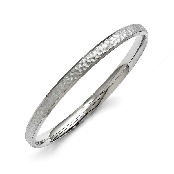 Chisel Stainless Steel Polished and Laser Cut Hammered Bangle