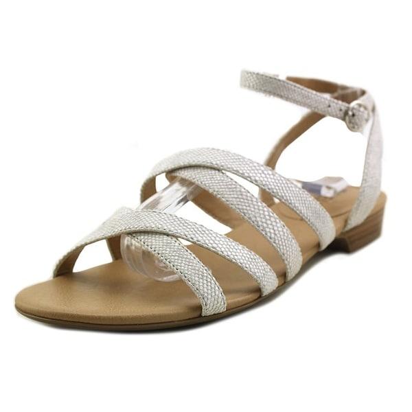 Vaneli Bibi Women Open Toe Leather White Gladiator Sandal