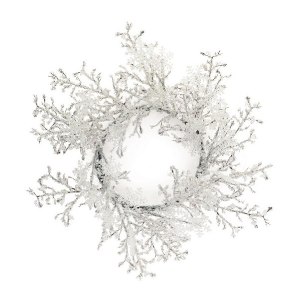 Set of 2 Whimsical Clear White Crystal Snowflake Artificial Christmas Wreath 22""