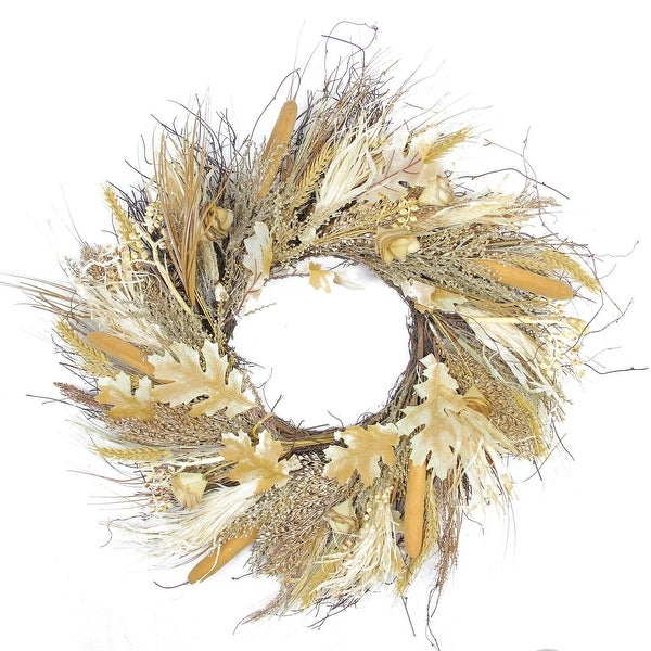 """24"""" Autumn Harvest Cattail and Wheat Artificial Thanksgiving Wreath - Unlit"""