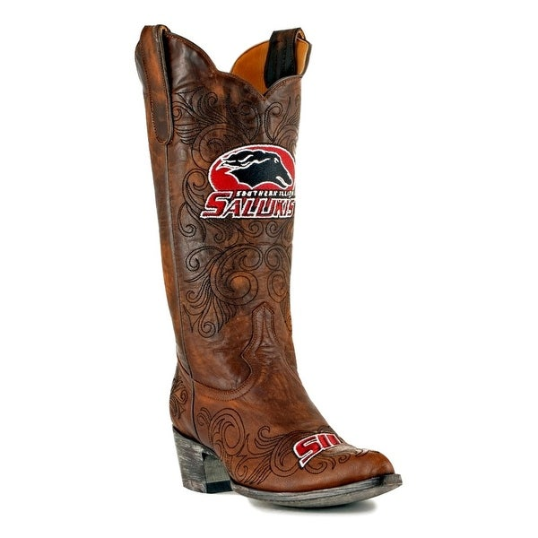 Gameday Boots Women College Salukis Southern Illinois Brass