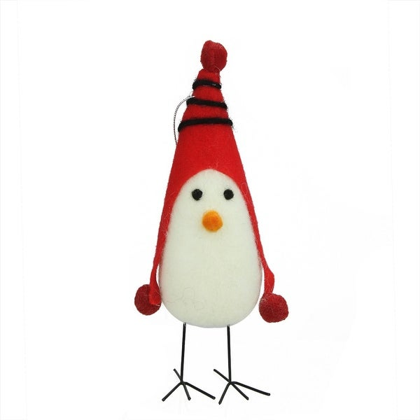 "8"" Red and White Felt Bird with Winter Hat Decorative Christmas Ornament"