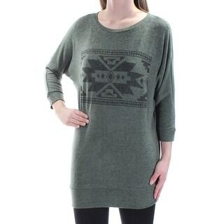 Womens Green 3/4 Sleeve Jewel Neck Casual Tunic Top Size XS