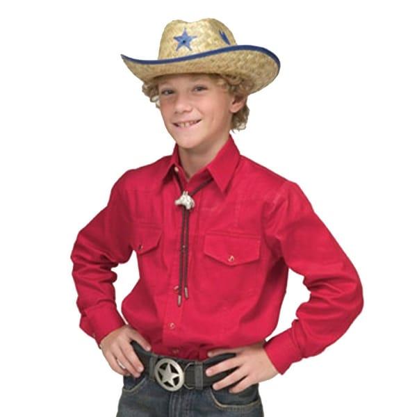 edf979c0 Children's Solid Button Down Cotton Western Cowboy Shirt