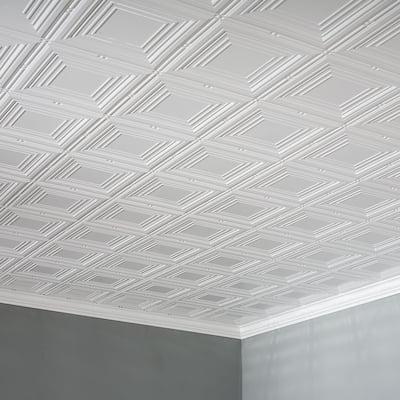 Fasade Portrait Decorative Vinyl 2ft x 4ft Glue Up Ceiling Tile in Gloss White
